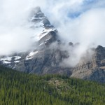 Mountain covered in fog Canada