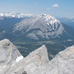 Summit Mt Rundle with view on Cascade Mt at Banff National Park