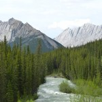 Winding river in the Canadian Rocky Mountains